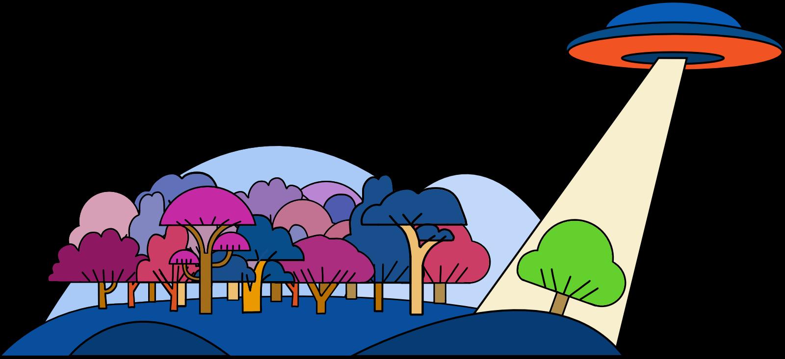 disco volante che pianta alberi